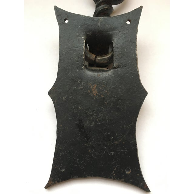 """Handmade Hammered Iron with Forged twisted door knocker. Circa 1930 7 1/4"""" Height x 4"""" Width x 1 1/2"""" Depth"""
