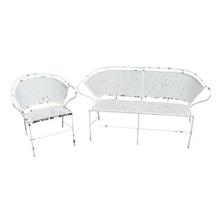 Woodard Barrel Back Mesh Wrought Iron Patio Couch & Chair - a Pair For Sale