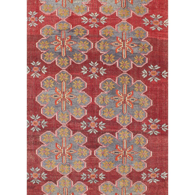 Keivan Woven Arts Vintage Turkish Embroidered Kilim Rug in Wine Red, Steel Blue, Pink For Sale - Image 4 of 7
