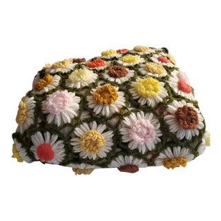1960s Vintage Hand-Crocheted Daisy Throw For Sale