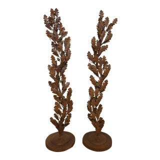 Iron Oak Branch Topiary - a Pair For Sale