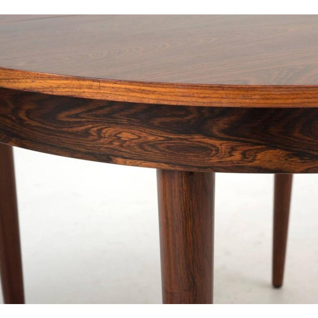 Round Hans Olsen Rosewood Dining Table with Extension Leaf - Image 6 of 9