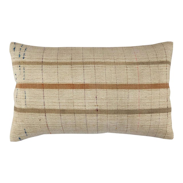 """Muted Mid-Century Kilim Pillow   12"""" X 20"""" For Sale"""