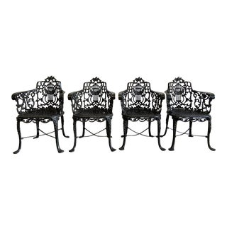 Cast Iron Armchairs by Robert Wood Set of 4 For Sale