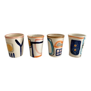 Lrnce Hand Painted Ceramic Cups - Set of 4 For Sale