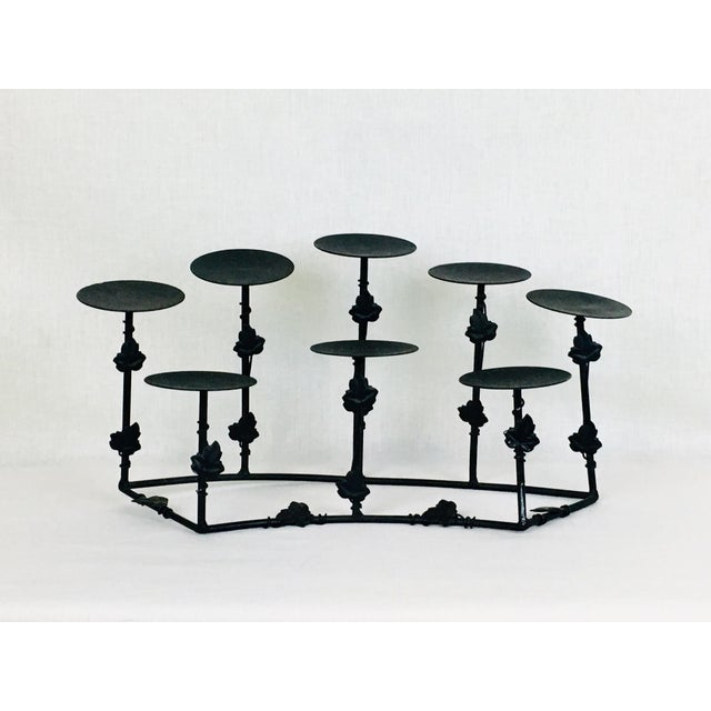 Stunning Gothic Deco 8 Candle holder in black wrought iron metal, with foliage leaf decoration. Gorgeous 8 candle holder...