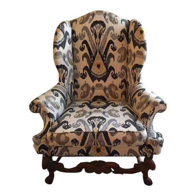 Antique Boho Ikat Wingback Chair - Image 1 of 6