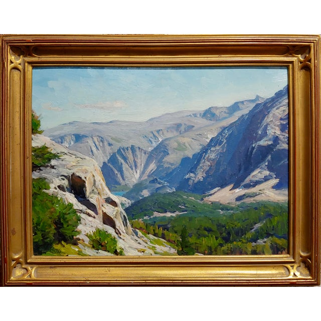"""Taylor Lynde - Beautiful Montana Lake scenery -Oil painting Oil painting on board -Signed and dated frame size 19 x 15""""..."""