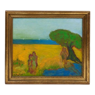 Framed 'Yellow Landscape Painting' by Abraham Pariente