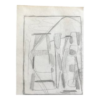 Mid-Century Modern Abstract Drawing, C. 1950 For Sale