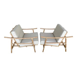 Ficks Reed Natural Rattan Lounge Club Chairs by John Wisner, Restored - a Pair For Sale