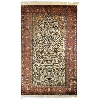 Antique Persian Kashan Silk Meditation Rug For Sale