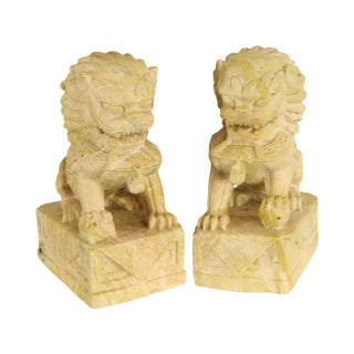 Pair Stone Chinese Guardian Lions or Foo Dogs Handcrafted Statuettes For Sale