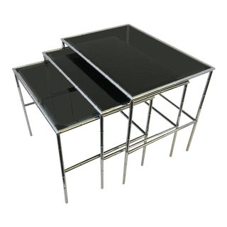 Set of Three Chrome and Smoked Glass Faux Bamboo Nesting Tables For Sale