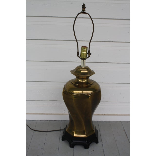 Brass Vintage Chinoiserie Brass Lamp For Sale - Image 8 of 11