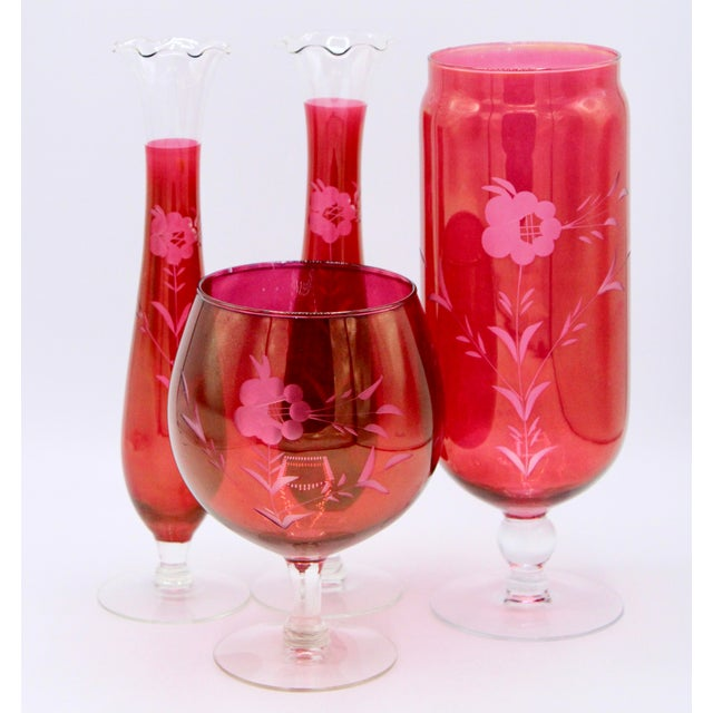 Antique Czech Bohemian Cranberry Glass Set of Vases (4) For Sale - Image 11 of 13