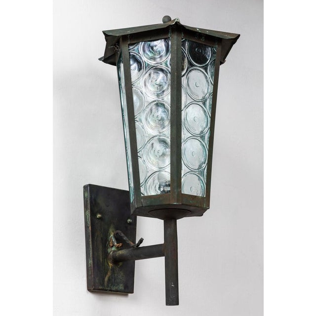 1950s Large Scandinavian Outdoor Wall Lights in Patinated Copper and Glass - a Pair For Sale - Image 10 of 13