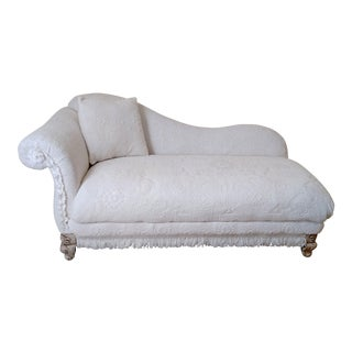 Chenille Reupholstered Chaise Lounge