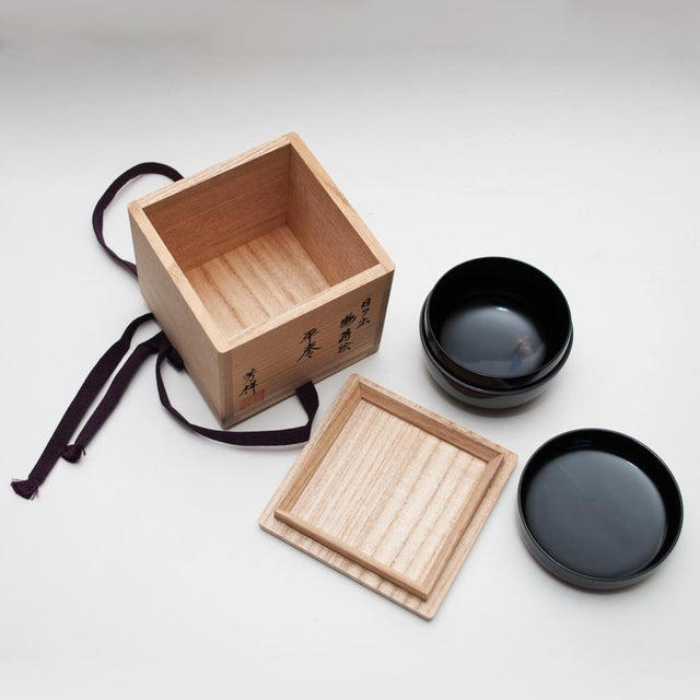 Wood Japanese Lacquered Black Painted Wood Tea Caddy in a Wood Box For Sale - Image 7 of 13