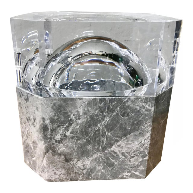 Modern New Gray Marble & Lucite Octagon Ice Bucket For Sale