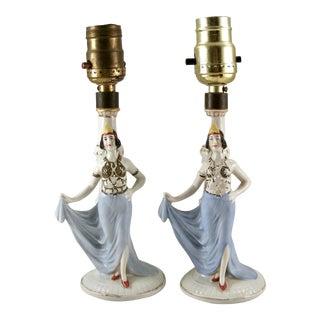Antique Art Deco Flapper Figural Boudoir Lamps - a Pair For Sale