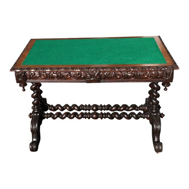 19th Century Jacobean Felt Top Oak Library Desk For Sale