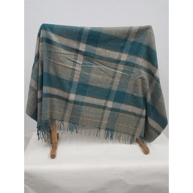 Merino Wool Throw Light Aqua Blues Grey Plaid - Made in England For Sale - Image 4 of 9