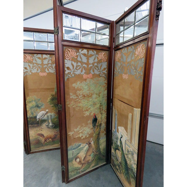 Glass Aesthetic Victorian 4 Panel Screen For Sale - Image 7 of 13