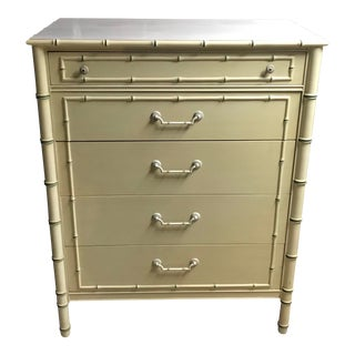 Customizable Thomasville Allegro 5 Drawer Tall Faux Bamboo Dresser For Sale