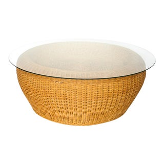 1970s Boho Chic Rattan Round Coffee Table