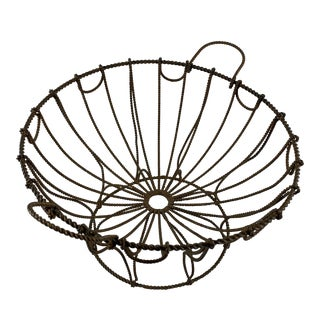 Late 19th Century French Hand Made Twisted Wire Pedestal Kitchen Basket For Sale
