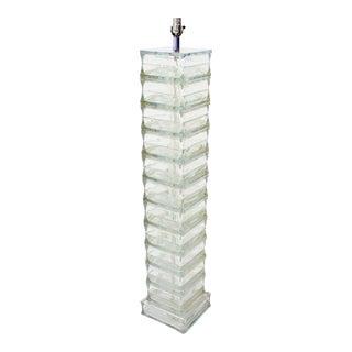 Italian Glass Block, Mid-Century Modern Floor Lamp For Sale
