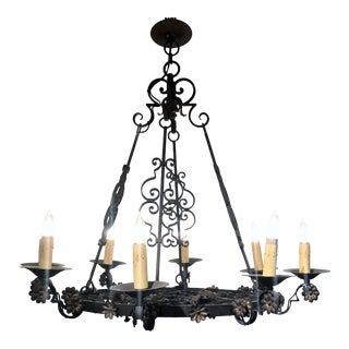 Antique French Wrought Iron 8 Light Fixture With Floral Detail, Circa 1890-1910.