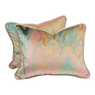"""18"""" X 14"""" Custom Pink and Blue Marbled Velvet Pillows, Pair For Sale"""