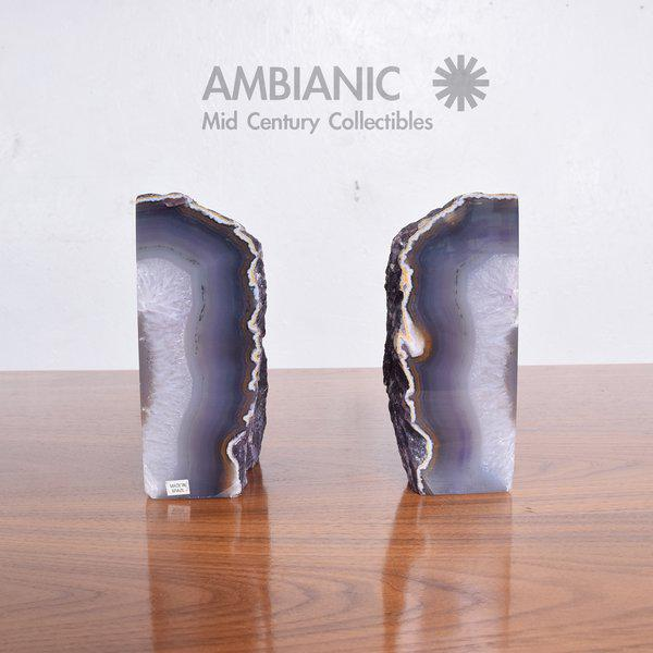 Purple Pair of Amethyst Bookends Made in Brazil For Sale - Image 8 of 10