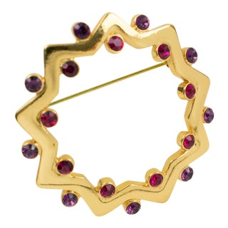 Yves Saint Laurent Ysl Geometric Pin Brooch Gilt Metal Purple Red Rhinestones For Sale