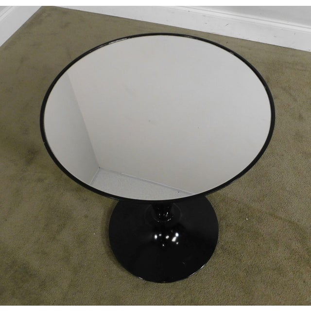 Modern Black Lacquer Round Mirror Top Pedestal Side Table For Sale - Image 10 of 13