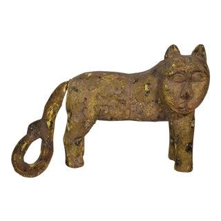Carved Wooden Folk Art Cat For Sale
