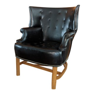 Vintage Mid Century Low Wingback Library Chair For Sale