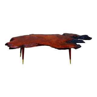 Vintage Mid-Century Modern Redwood Live Edge Coffee Table For Sale