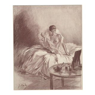 1931 French Lithograph-Semi-Nude For Sale