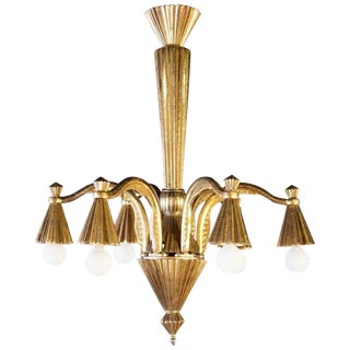 1930s Vintage French Bronze Art Deco Chandelier For Sale