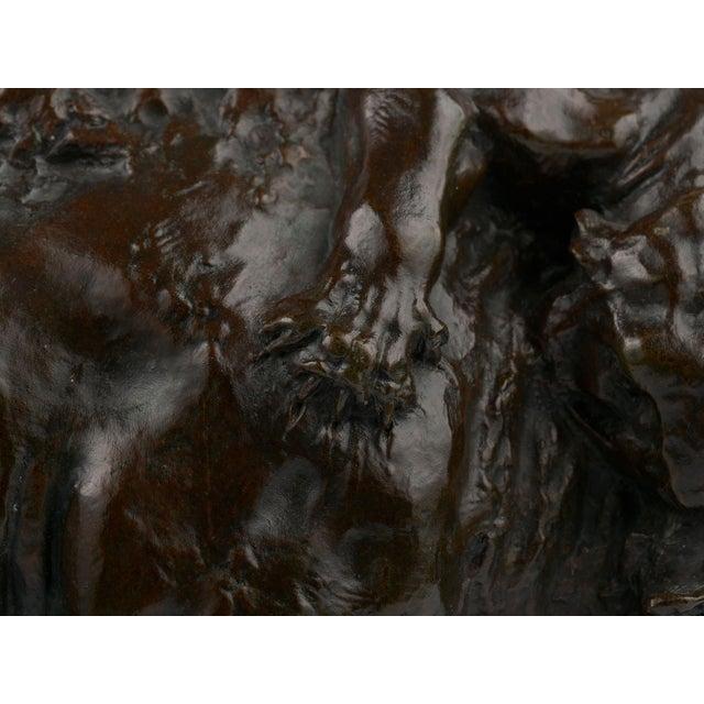 """Brown """"Bison Et Jaguar"""" French Bronze Sculpture Cast After Model by Georges Gardet For Sale - Image 8 of 13"""