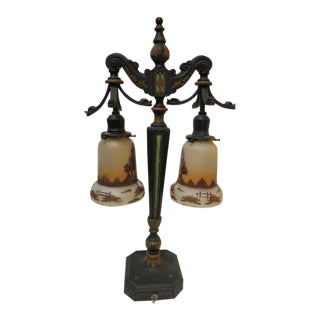 1890 Antique Hubbell Cast Iron and Art Glass Shades Lamp For Sale