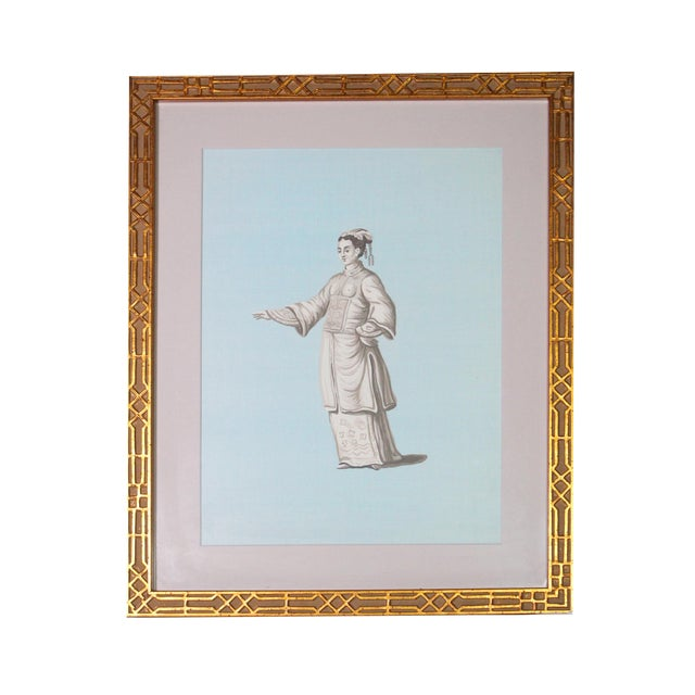 Framed Chinoiserie Painting of Chinese Noblewoman in Grisailles on Silk For Sale