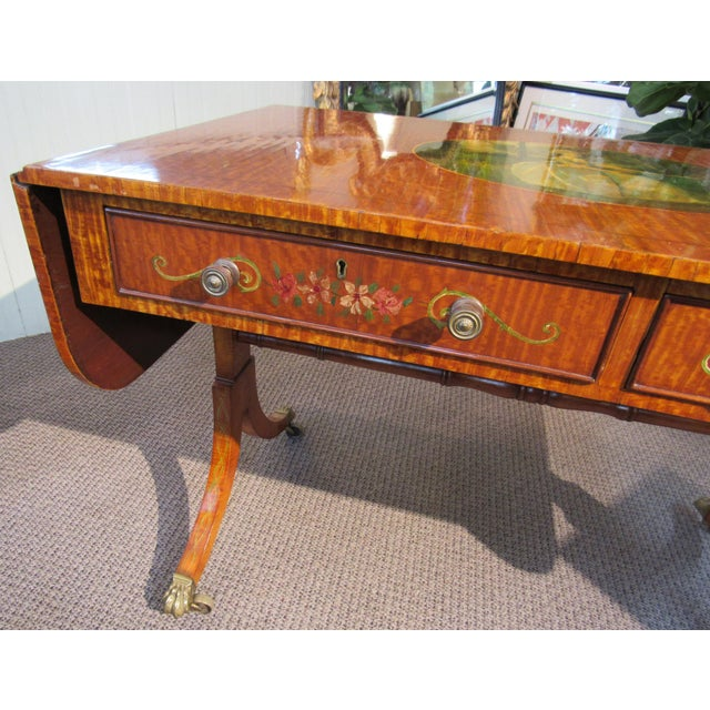 19th Century Adams Style Handpainted Satinwood Two Drawer Sofa Table For Sale - Image 4 of 13