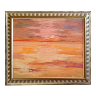 Juan Guzman, Ventura California Golden Sunset Oil Painting For Sale