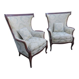 Early 20th Century Regency Carved Mahaogany Wingback Fireside Chairs - a Pair For Sale