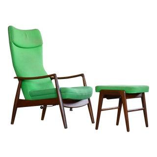 Madsen & Schubell Reclining Teak Lounge Chair With Ottoman, Denmark, Circa 1960 For Sale