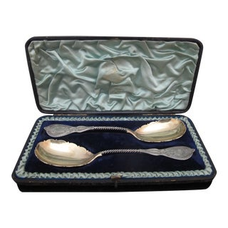 Antique 19th Century Silverplate Roman Medallion Spoons in Case - Set of 2 For Sale